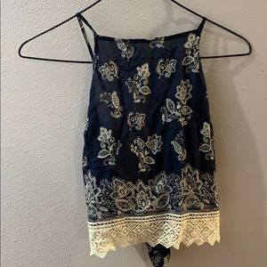 navy blue tank top with white paisleys